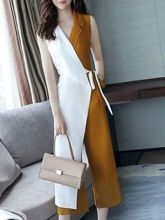 Buy Chicloth Work Surplice Neck Color-block Jumpsuit,Cheap Womens Casual Pants,Cheap Jumpsuits and Rompers. Hijab Fashion, Korean Fashion, Fashion Dresses, Maxi Dresses, Fashion Clothes, Classy Outfits, Cute Outfits, Fall Outfits, Hijab Stile