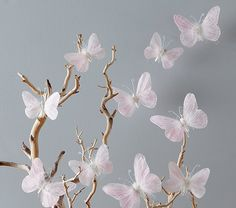 Paper Flowers Discover Pink Feather Butterflies Set at Pottery Barn Kids - Kids Bedroom Decorations - Hanging Nursery Decorations Butterfly Bedroom, Butterfly Baby Shower, Butterfly Birthday, Butterfly Wall Decor, Butterfly Theme Room, Butterfly Mobile, Blue Butterfly, Paper Flower Decor, Flower Decorations