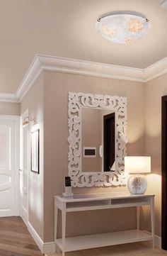 Πλαφονιέρα - φωτιστικό οροφής, μονόφωτο σε μοντέρνο στυλ, με χρυσή ανάρτηση με γυαλί σε χειροποίητο decor λευκό με χρυσό. Σειρά Duomo από την Viokef! Ceiling lamp, gold-plated glass in hand-painted decor, white and gold color! #ceilinglights #homedecor #decoratingideas #cosy #cosyhome #handmade #handmadedecor Decor, Vanity Mirror, Vanity, Furniture, Home Decor, Mirror