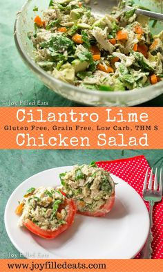 If you are tired of typical mayo & celery chicken salad you need to try this Cilantro Lime Chicken Salad. It is low carb, grain/gluten free, and THM S.
