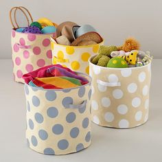 The Land of Nod | Kids Storage: Polka Dotted Cube Floor Bins