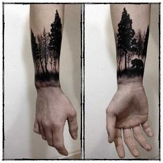 Forearm is one of the most popular place to get tattoos. Forearm tattoos are visible and you have great chance to showing off. And also they are easy to be concealed. Forearm tattoo designs are loved both by men and women, especially for men. Forest Tattoo Sleeve, Forest Forearm Tattoo, Wrist Tattoos For Guys, Forest Tattoos, Forearm Tattoo Design, Nature Tattoos, Tattoos For Women, Mens Forearm Tattoos, Tattooed Guys