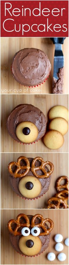 Reindeer Cupcakes...Nilla Wafers, M&M's (brown and white) and pretzels!
