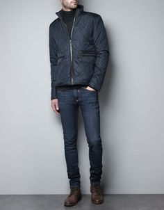 JACKET WITH FAUX LEATHER TRIM