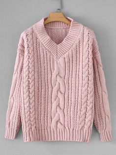 605dfc3609423 V-Neck Twisted Knit Solid Jumper -SheIn(Sheinside) Fall Sweaters