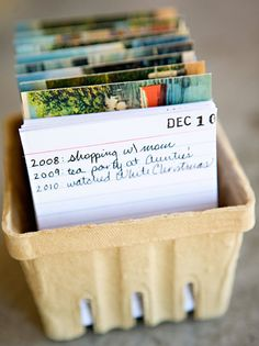 "Get started now on a ""perpetual diary"" like this... make an index card for each day of the year (or even week, if you like!), file the cards in a berry basket (I used vintage postcards to divide th..."