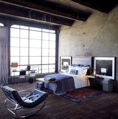 Concrete, industrial and loft style bedroom.