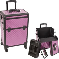 Purple & Black Diamond Pro Rolling Makeup Case on TheCosmeticSpace.com