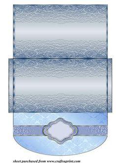 Blue floral swirl money voucher wallet 2 on Craftsuprint designed by Sharon Poore - Blue floral swirl money/voucher wallet - Now available for download!