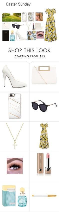 """Easter Sunday"" by lizzie-raye ❤ liked on Polyvore featuring Gucci, New Look, Casetify, Swarovski, Dolce&Gabbana, Marc Jacobs, Champion, Miu Miu and Sugar Paper"
