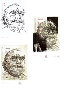 Etching portrait of Charles Bukowski by German born printmaker Dirk Hagner
