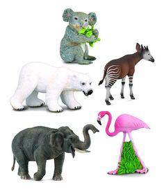 Look what I found on #zulily! Flamingo & Friends Wildlife Figurine Set #zulilyfinds