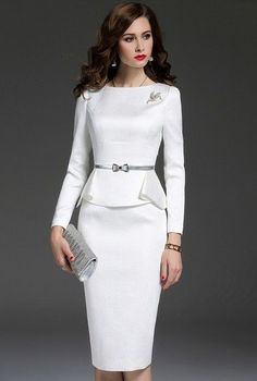 That is absolutely true !Nice white and navy dress salvabrani – Artofit Suit Fashion, Girl Fashion, Fashion Dresses, Womens Fashion, Fashion Design, Elegant Dresses, Beautiful Dresses, Nice Dresses, Dresses For Work