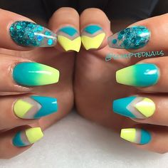 Yellow and blue negative space with glitter