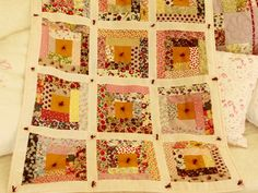 Liberty Log Cabin baby quilt by Christine at Quilt Stories