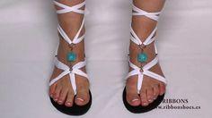 diy gladiator sandals ribbon jewel greece inspired