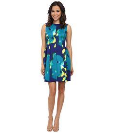 CALVIN KLEIN Fit & Flare Printed Scuba Dress. #calvinklein #cloth #dresses