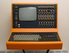 """synthface: 1981 – Movement MCS Drum Computer is a rare vintage drum machine from the UK made famous by Eurythmics in the """"Sweet Dreams"""" video. The MCS had 14 voices and used 8-bit samples combined with analog synthesized drum sounds. The CRT screen allowed editing of sequences and if you wanted new samples you had to send your machine back to Movement for them to add it. Competition from the likes of Linn, Oberheim and others hurt sales and only 30 units were ever produced."""