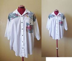 vintage white patched oversized blouse by june22nd on Etsy, $24.00