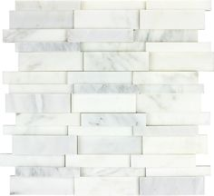 Carrera Marble mosaic and glass accent tile | Kitchen Bathroom 3D Bianco Carrara Polished Marble Mosaic ...