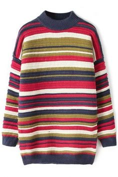 Street-Chic High Neck Striped Long Sweater