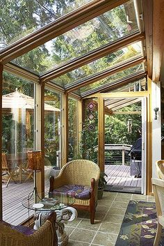 Gallery of beautiful sunroom ideas. A sunroom addition to your home is similar to a mix of a backyard patio and living room. The best sunroom designs bring the outside in and allow you to enjoy the outdoor feel anytime of year. Patio Interior, Interior Exterior, Grey Exterior, Interior Design, Outdoor Rooms, Outdoor Living, Outdoor Seating, Indoor Outdoor, Small Sunroom