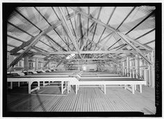 Detail of interior truss, main hatchery building.  View to the east. - Prairie Creek Fish Hatchery, Hwy. 101, Orick, Humboldt County, CA