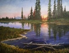 Sunset Over Mountain View Marsh. H Mark Hall Wildlife Paintings, Landscape Paintings, Landscapes, Mountain Landscape, Mountain View, Mark Hall, Lake Art, Country Art, Art Photography