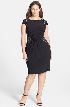 Adrianna Papell Lace Inset Matte Jersey Dress (Plus Size) | Nordstrom