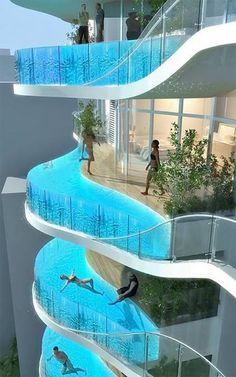 Balcony Swimming Pools in Mumbai, India. Seriously I don't know what would win out my extreme fear of heights or my love of swimming...