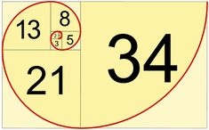Fibonacci Sequence. Add the two previous numbers to make the third. Make them into squares = spiral.