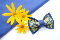 EMBROIDERED BLUE bow tie with bright yellow flowers For Stylish men Women's fashion Independance day in Ukraine Boyfriend's gift Boys ties by accessories482 on Etsy