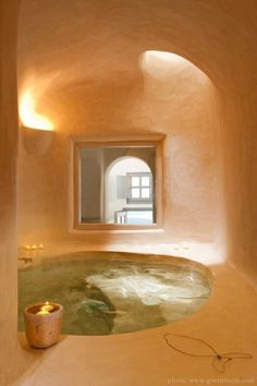 Cob House Bathroom There are even cob hot tubs.