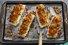 Parmesan Crusted Baked Fish   Parmesan, mayonnaise and breadcrumbs may seen an unlikely pairing for fish, but they create a flavor-packed crust that helps keep the fish deliciously moist while it bakes. Goes well with sautéed spinach! Tilapia, catfish, whitefish, striped bass, haddock or scrod are good choices for the fish. This recipe also works well with chicken.