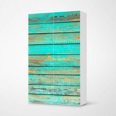 "Die Möbelfolie ""Wooden Aqua"" für dein #Besta #Regal #IKEA Aqua, Vinyl, Blinds, Bubble, Artwork, Home Decor, Products, Technology, Ikea Pax Closet"