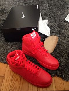 All red Air Force 1 High #sneakers