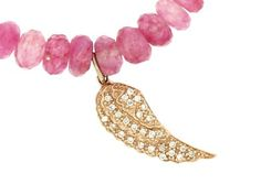 Sydney Evan - Diamond Wing in Yellow Gold on Ruby Moonstone