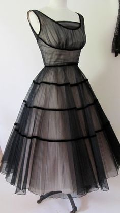 1950s black and tulle pink dress, in New Look style.