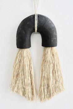 Black Ceramic Arch Raw ceramic stoneware arch and caramel Japanese fiber (Gima cotton) wall hanging. Porcelain Jewelry, Ceramic Jewelry, Porcelain Ceramics, Fine Porcelain, Porcelain Tiles, Ceramic Wall Art, Ceramic Vase, Ceramic Pottery, Slab Pottery