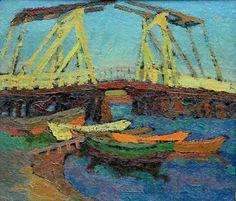 """Zank, Hans (1889 Berlin – 1967 Falkensee) und Gericke,Willi (1895 Spandau – 1970 Falkensee)  """"Boote an der Wiecker Brücke"""""""