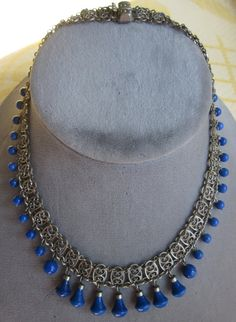 Vintage 1920 Czech Lapis & Silver Filigree by CornermouseHouse, $148.00