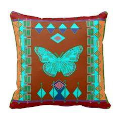 Turquoise Southwest Butterfly Pillow by Sharles