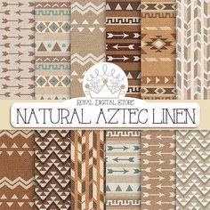 "Linen Digital Paper: "" Natural Aztec linen Digital Paper"" with tribal, aztec linen patterns, backgrounds in beige, brown, geometric patterns #scrapbooking #party"