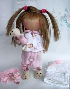 Куклы тыквоголовки ручной работы. Ярмарка Мастеров - ручная работа. Купить Кнопочка в розовой пижамке. Handmade. Малышка, подарок дочке
