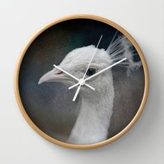 An Old Soul - White Peacock - Wildlife Wall Clock by Jai Johnson - $30.00
