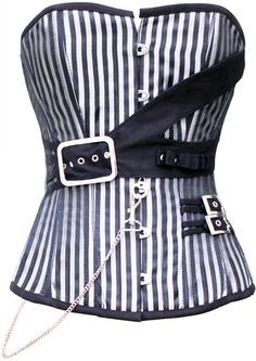 The Violet Vixen - Utility Platinum Stripe, $130.20 (http://thevioletvixen.com/corsets/utility-platinum-stripe/)  With shades of gray, platinum, steel and black this corset steps away from the 50's and into the current rock revolution. Full steel boning and high quality materials.