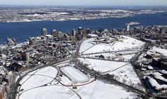 Halifax, Nova Scotia from the air, featuring the Citadel, downtown, and the outdoor skating oval on the Commons (xp r-halifax) -- OPENPICS. Outdoor Skating, Aerial Images, Prince Edward Island, New Brunswick, Photo Dump, Nova Scotia, Aerial View, City Photo, Castle