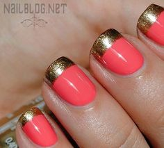 Coral Nail Polish with Gold Tips. I wanted to do my Prom nails like this, but the guy at the manicure place kind of did his own thing. Coral Nail Polish, Coral Nails, Chevron Nails, Gold Nail, Peach Nails, Black Polish, Gold Polish, White Nails, Get Nails
