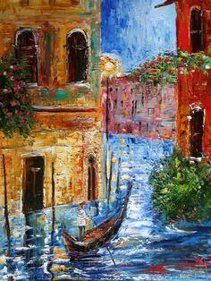 Original oil painting Venice Italy Gondola palette knife modern fine art impressionism by Karen Tarlton Modern Impressionism, Impressionist Art, Tupelo Honey, Venice Painting, Galerie D'art, Painting Lessons, Fine Art Gallery, Art Images, Artwork