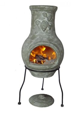 Cute small green chimenea with stand. This patio heater is perfect for keeping warm during cooler nights or in the winter. The chimenea comes complete with rain lid, not for use when the chimenea is lit. These chimeneas are hand made and hand painted and therefore colours and shapes may vary slightly. Cactus design on the front of the chimenea. We recommend covering when not in use and bringing indoors during adverse weather. Have a few smaller fires to begin with to allow your new clay to…